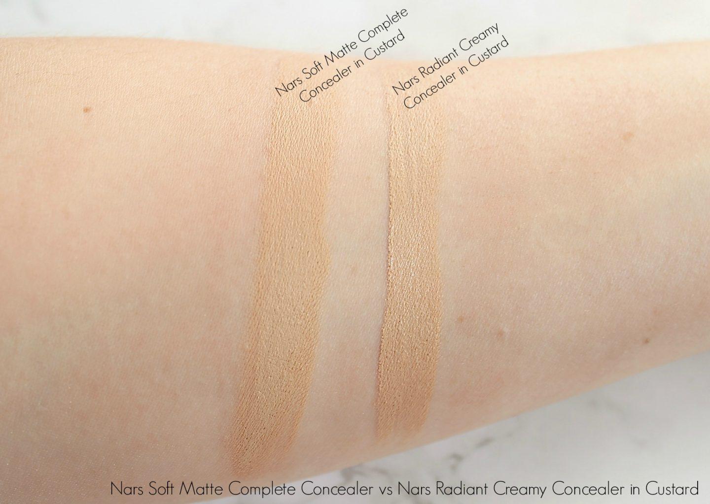 Nars Soft Matte Complete Concealer vs Nars Radiant Creamy Concealer in Custard Swatch