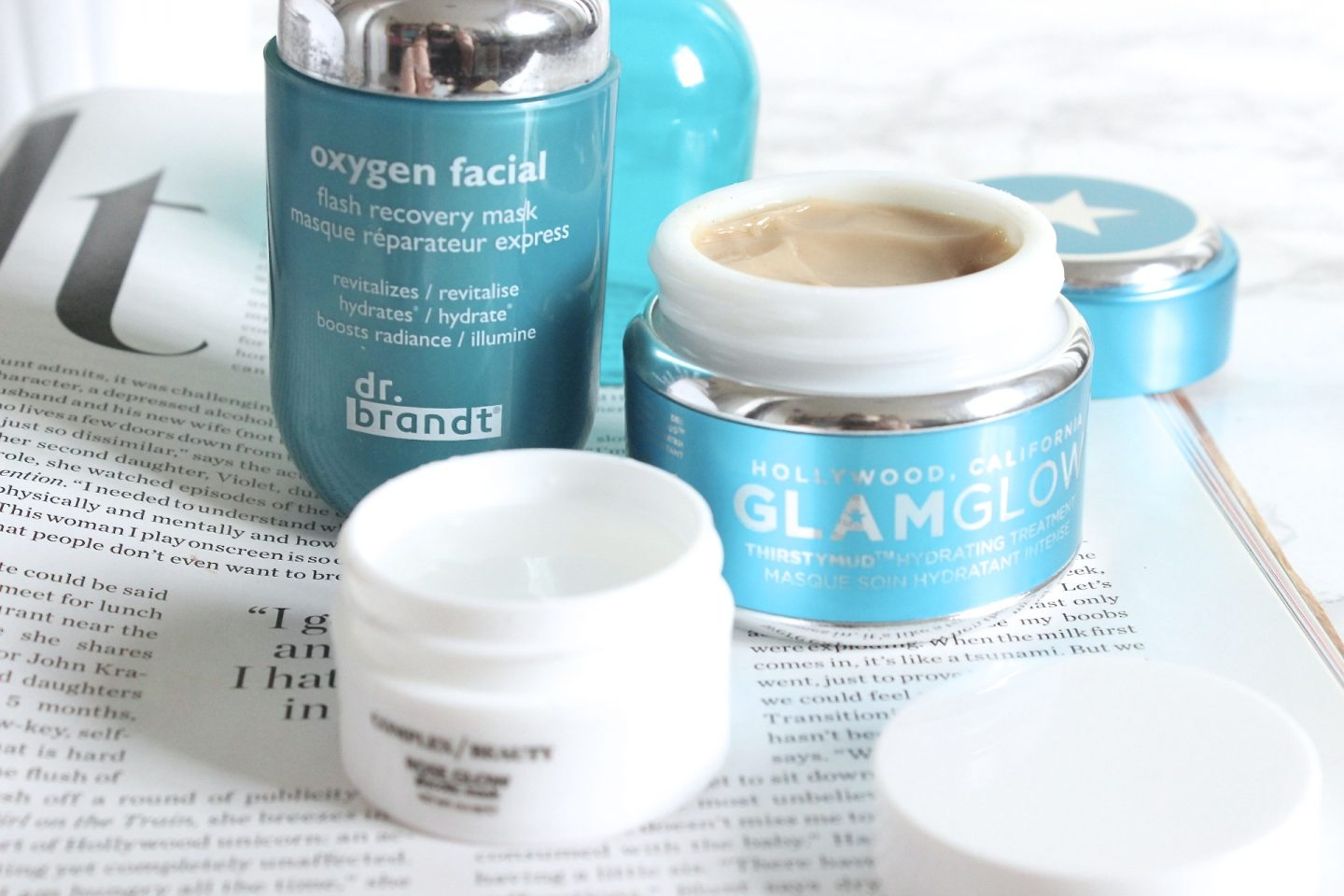 Dr Brandt Oxygen Facial, Glamglow Thirstymud, Complex Beauty Rose Glow
